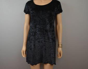 90s Victoria's Secret Nightgown Medium Gold Label Black Crushed Velvet Pajamas 90s Sleepwear Epsteam