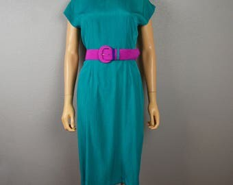 80s Work Dress Size 6 Shift Dress Bright Green With Magenta Belt Short Sleeve Professional Dress 80s Clothing Epsteam