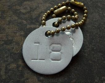 Vintage number tag, number 18, vintage tag, aluminum number tag, sheep, cow, livestock tag