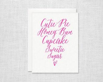 Pet Names Letterpress Card - Calligraphy Heart Valentine