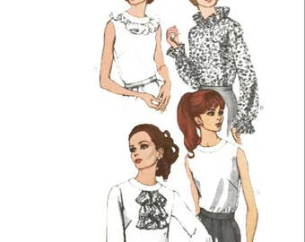 Vintage Sewing Pattern 1960s Blouse Optional Ruffle Sleeve or Neckline 1968 Vogue 7375 Bust 32.5