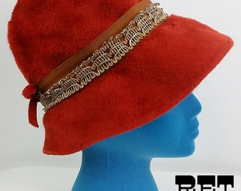 Happy Mod Vintage 60s 70s Rust Red Orange Furry Fuzzy Bucket Hat with Gold Ribbon Trim!