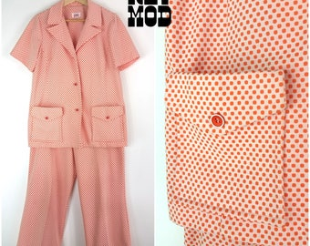 Sassy Vintage 70s Peach Orange and White Polkadot Op Art Polyester Leisure Suit!