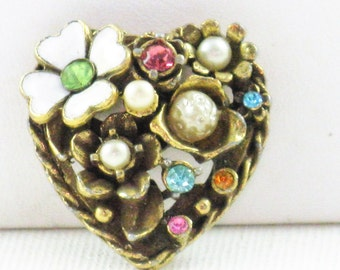 Vintage Coro Gold Tone Heart and Flowers Rhinestone Faux Pearl Brooch Pin (B-2-5)