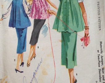 Vintage 50s Maternity Pattern Blouse and Skirt 36 bust Mccalls 3374