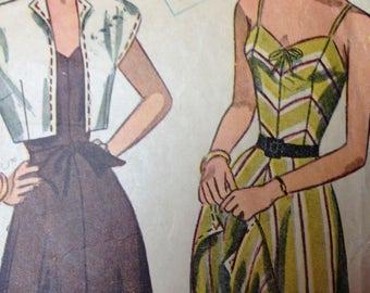 Vintage 40s Dress Pattern Simplicity 1975 32 bust Sundress Sun Dress Straps or Strapless size 14 1940s chevron stripe