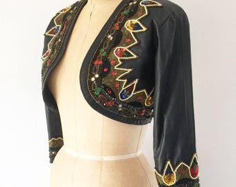 Vintage Indian Beaded Black Leather Jacket Bohemian Cropped Bolero Jacket XS