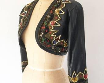 Vintage Indian Beaded Black Leather Jacket Bohemian Cropped Bolero Jacket XS