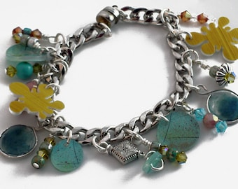 Resin, Crystal and Silver Charm bracelet