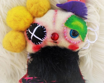 Top Hat - a Whimsical Funny Ratty Tatty Monster Art Doll