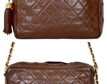 """CHANEL Paris 9"""" Inch Brown Quilted Lambskin Leather with Tassel Shoulder Bag"""