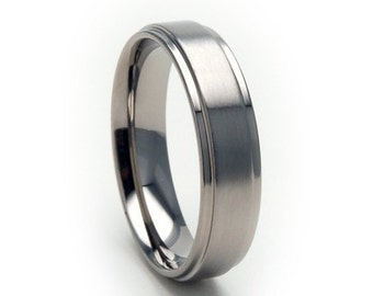 new 5mm wide comfort fit titanium ring 5rc bc - Titanium Mens Wedding Rings