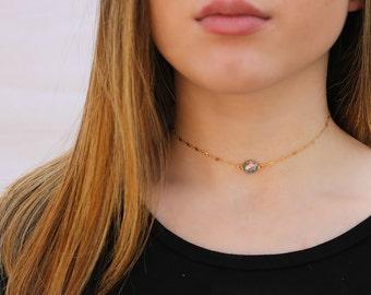 Mystic Blue Quartz Choker Necklace, Dainty Gemstone Choker Necklace, Delicate Gemstone Choker Necklace, 14K Gold Filled