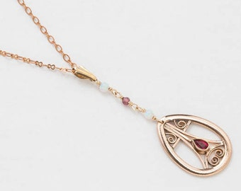 Antique Lavalier Necklace with Genuine Garnet & Opal in 14K Rose Gold Filled, Victorian Pendant, Wedding Jewelry, Antique Jewelry Gift