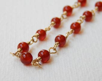 Carnelian Necklace - Gold Filled Rosary Necklace Beaded Necklace Rosary Chain Beadwork Necklace Carnelian beads