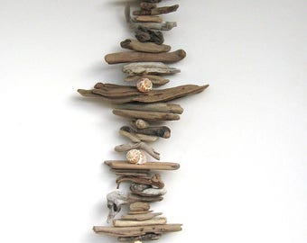 Driftwood Mobile With Shells-DC1209