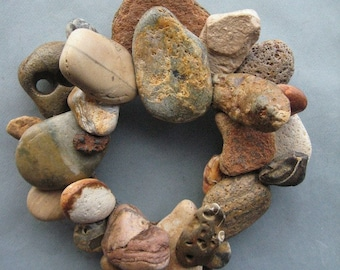 Earth Tone Rock Wreath or Candle or Pot Ring–RW355