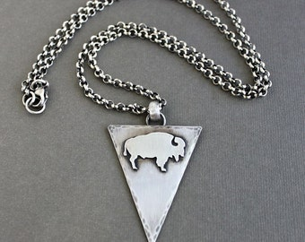 Silver Buffalo Necklace, Buffalo Pendant, Mens Chain Necklace, Bison