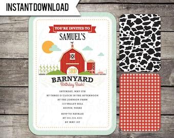 INSTANT DOWNLOAD Barnyard Birthday Party Invitation