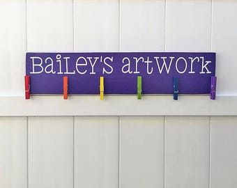 Child's Art Display // Masterpieces // Art Work Display // Kid Wall Art // Art Display // Personalized Kid Signs // Child Artwork Hanger