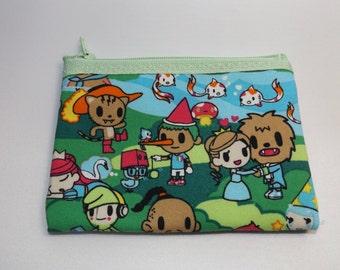 Kawaii  Anime'  Fabric Coin Purse--Handmade Japanese Fabric  Fairy Tales
