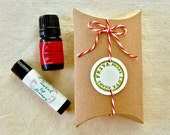 organic Stocking Stuffer kit!  your pick of Herbal Lip Therapy + Sweet Mouth Mint/Cinnamon Drops in a cute little pillow box