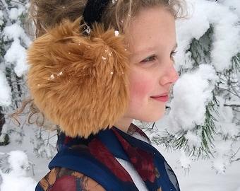 Light brown earmuffs, winter ear warmers, faux fur ear muffs, Christmas gift for girl, cute winter accessory, warm hat