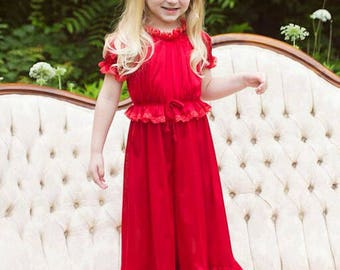 Princess Jammies - Red w/Red Lace - Toddler and Girls Sized Tricot Pajamas - Pick A Color!