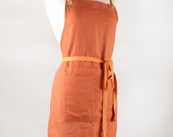 Linen Apron, Full Apron. 100% medium weight Linen. Rust color.