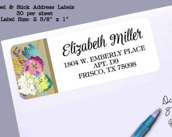 Return Address Labels, Watercolor Florals, Flower Design, Fuchsia, Turquoise, Gold, Yellow, Purple, 30 Labels to the Sheet