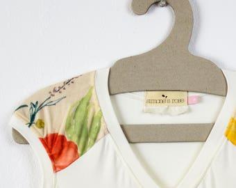 Cream Milk Vneck t-shirt / Nani Iro combo - Summer bamboo jersey top / Eco fashion top - Cream floral top