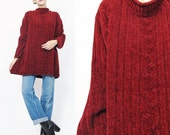 1990s Soft Chenille Sweater Fuzzy Christmas Sweater Dark Burgundy Red Sweater Grunge Pullover Oversize Womens Knit Mock Neck Jumper (L/XL)
