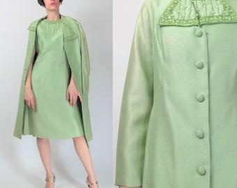 Vintage 1960s Dress and Coat Set Matching Outfit Light Green Beaded Dress Mini Raw Dupioni Silk Dress Formal Wedding Beaded Jacket (M) E4066