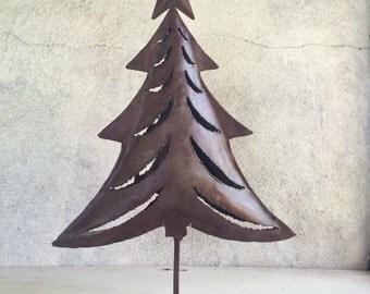 "Vintage 16"" Christmas tree metal candle holder, cut out luminaria rustic Christmas decor, Christmas tree candleholder, hacienda decor"