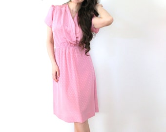 Pink 70s Dress / Dusty Rose Pink 1970s Secretary Dress