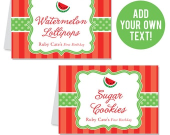 INSTANT DOWNLOAD Watermelon Party Buffet Cards (Red) - EDITABLE Printable File