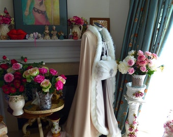 """Pageant Queen & King V-Neck Style Bridal Cape 52"""" Full Length Ivory / Peachy-Champagne Satin Wedding Claok With Fur Trim HandMade in USA"""