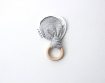 light weight grey wood baby teething ring | natural wood | terry cloth | teether | wood baby toy | cloth teether | teething toy | baby