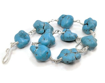 Chunky Nugget Bracelet- Imitation Turquoise Silver Fill Wire Wrapped