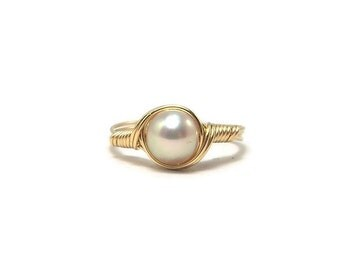Champagne Blush Freshwater Pearl 14k Gold Fill Wire Wrapped Ring