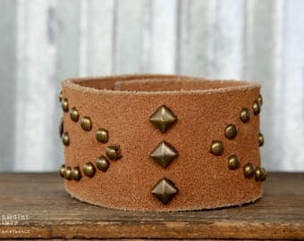 CUSTOM HANDSTAMPED CUFF - bracelet - personalized by Farmgirl Paints - suede brown leather cuff with bronze and turquoise studs
