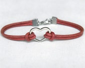 Heart Bracelet with Round Leather Cord (Many colors to choose) (set of 11)