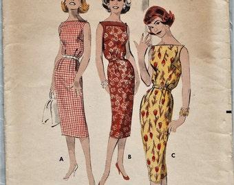 Butterick 8569 / Vintage 50s Sewing Pattern / Sheath Dress / Size 14 Bust 34