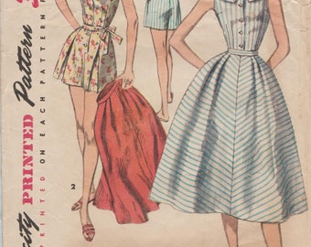 Simplicity 1609 / Vintage 50s Sewing Pattern / Romper Playsuit Shorts Skirt Overskirt / Size 14 Bust 32