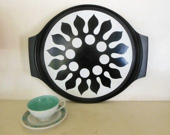 70's Black & White Lazy Susan Tray Nordic Flower Design