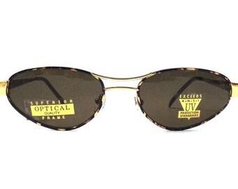 vintage 90's NOS tortoise shell gold metal sunglasses womens fashion accessories accessory sun glasses retro modern new cat eye black lens