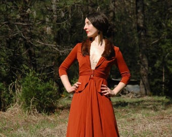 Size XS... Vintage 1970s Does 1940s Jacket and Skirt Set... Mink Collar... Starlet Wear