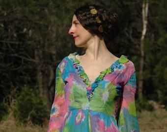 Size XXS... 1960s Floral Cocktail Dress... 60s Vintage Pop Art Flower Dress... Sheer Sleeves