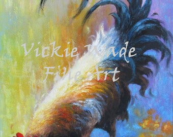 Rooster Original Oil Painting 12X24  rooster paintings, rooster art, rooster images, kitchen wall art, vertical rooster, Vickie Wade Art