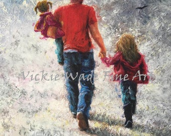 Father Two Daughters Art Print, dad and two daughters walking, two girls, two sisters, father's day gift, Vickie Wade Art